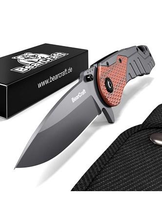 BEARCRAFT - CANIVETE OUTDOOR SURVIVAL POCKET KNIFE COM CABO REVESTIDO EM MADEIRA