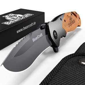 BEARCRAFT - CANIVETE OUTDOOR SURVIVAL POCKET KNIFE - DESIGN EM CARBONO