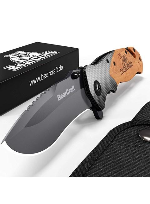 BEARCRAFT - CANIVETE OUTDOOR SURVIVAL POCKET KNIFE - DESIGN EM CARBONO
