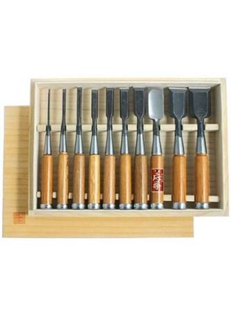 Conjunto de 10 formões japoneses - 3 a 42 mm