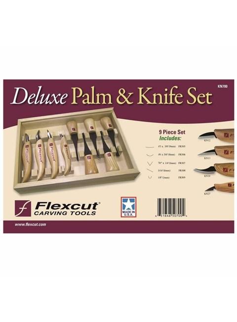 FLEXCUT - DELUXE PALM & KNIFE SET - CONJUNTO COM 9 FACAS E GOIVAS DE LUXO