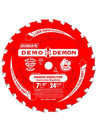 FREUD DIABLO DEMON - DISCO DE SERRA PARA FRAMING  - 24 DENTES - 7,25 POLEG. - D0724DA