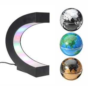 GLOBOS FLUTUANTES MAGNÉTICOS COM LED - PLANETA TERRA - AZUL, PRATA E MARROM - 3 X 1