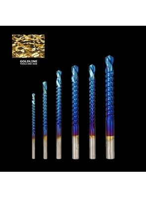 GOLDLINE - BROCAS PARA FURAÇÃO E RASGOS (GROOVING) EM AÇO P6M5 NANO BLUE