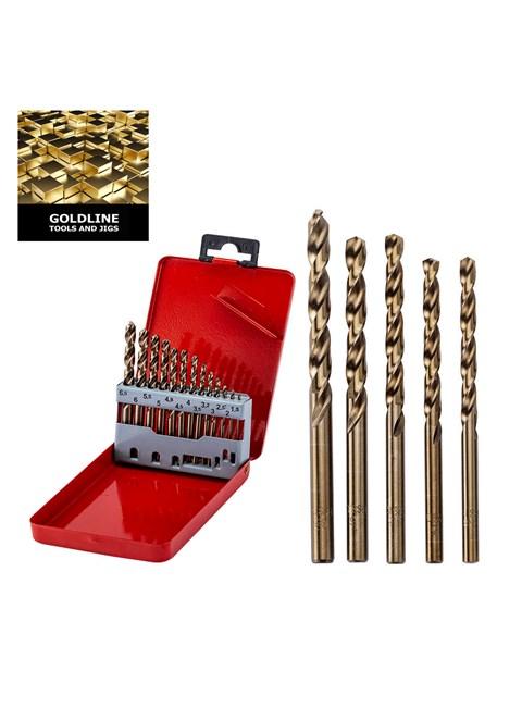 GOLDLINE - CAIXA COM 13 BROCAS PARA METAL, EM TITÂNIO, DE 1.5 A 6.5 MM