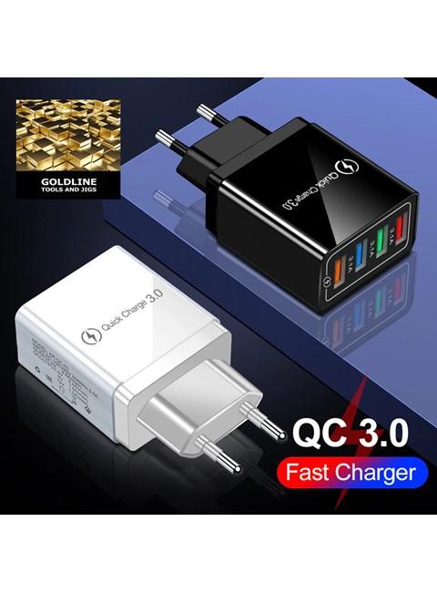 GOLDLINE - CARREGADOR ULTRA RÁPIDO 3.0 - 48 WATTS - 4 PORTAS USB