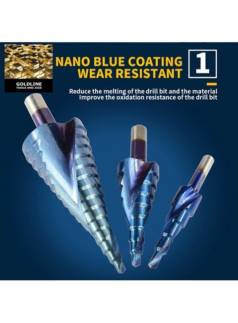 GOLDLINE - CONJUNTO DE BROCAS ESCALONADAS EM AÇO TRATADO P6M5 NANO BLUE