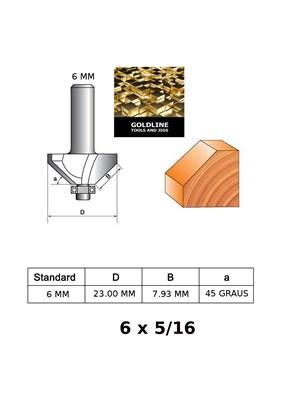 GOLDLINE - FRESA PARA CHANFRAR 45º COM ROLAMENTO - EM METAL DURO