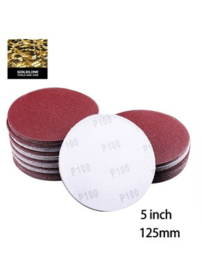 GOLDLINE - KIT COM 10 LIXAS PARA MADEIRA COM VELCRO - 125 MM