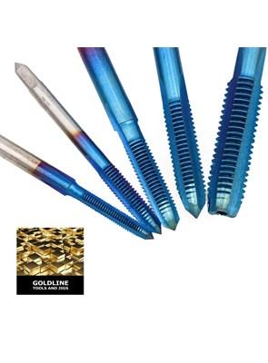GOLDLINE - KIT COM BROCAS PARA ROSCAS EM AÇO TRATADO M35 NANO BLUE