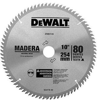 SERRA DE VÍDEA DEWALT PARA MADEIRA 10 COM 80 DENTES - DW03130