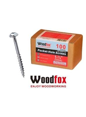 WOODFOX - PARAFUSOS PARA POCKET - 100 UNIDADES - ROSCA FINA - 1,25 POLEG.