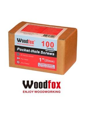 WOODFOX - PARAFUSOS PARA POCKET - 100 UNIDADES - ROSCA FINA - 1 POLEG.