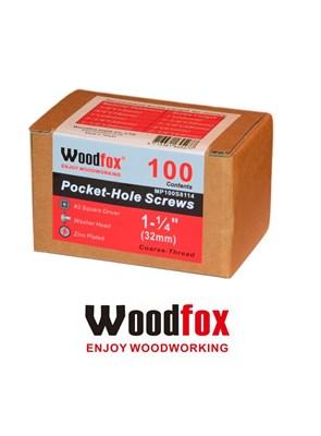 WOODFOX - PARAFUSOS PARA POCKET - 100 UNIDADES - ROSCA GROSSA - 1.25 POLEG.