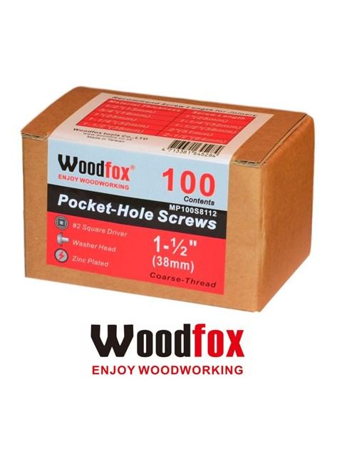 WOODFOX - PARAFUSOS PARA POCKET - 100 UNIDADES - ROSCA GROSSA - 1.5 POLEG.