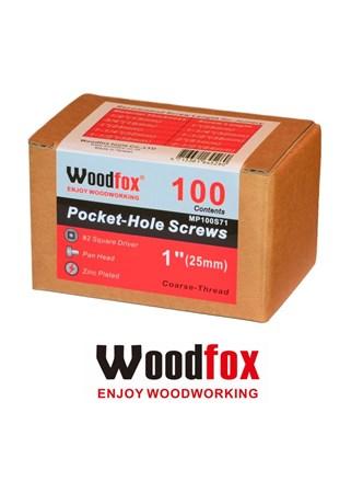 WOODFOX - PARAFUSOS PARA POCKET - 100 UNIDADES - ROSCA GROSSA - 1 POLEG.