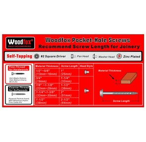 WOODFOX - PARAFUSOS PARA POCKET - 100 UNIDADES - ROSCA GROSSA - 2.5 POLEG.